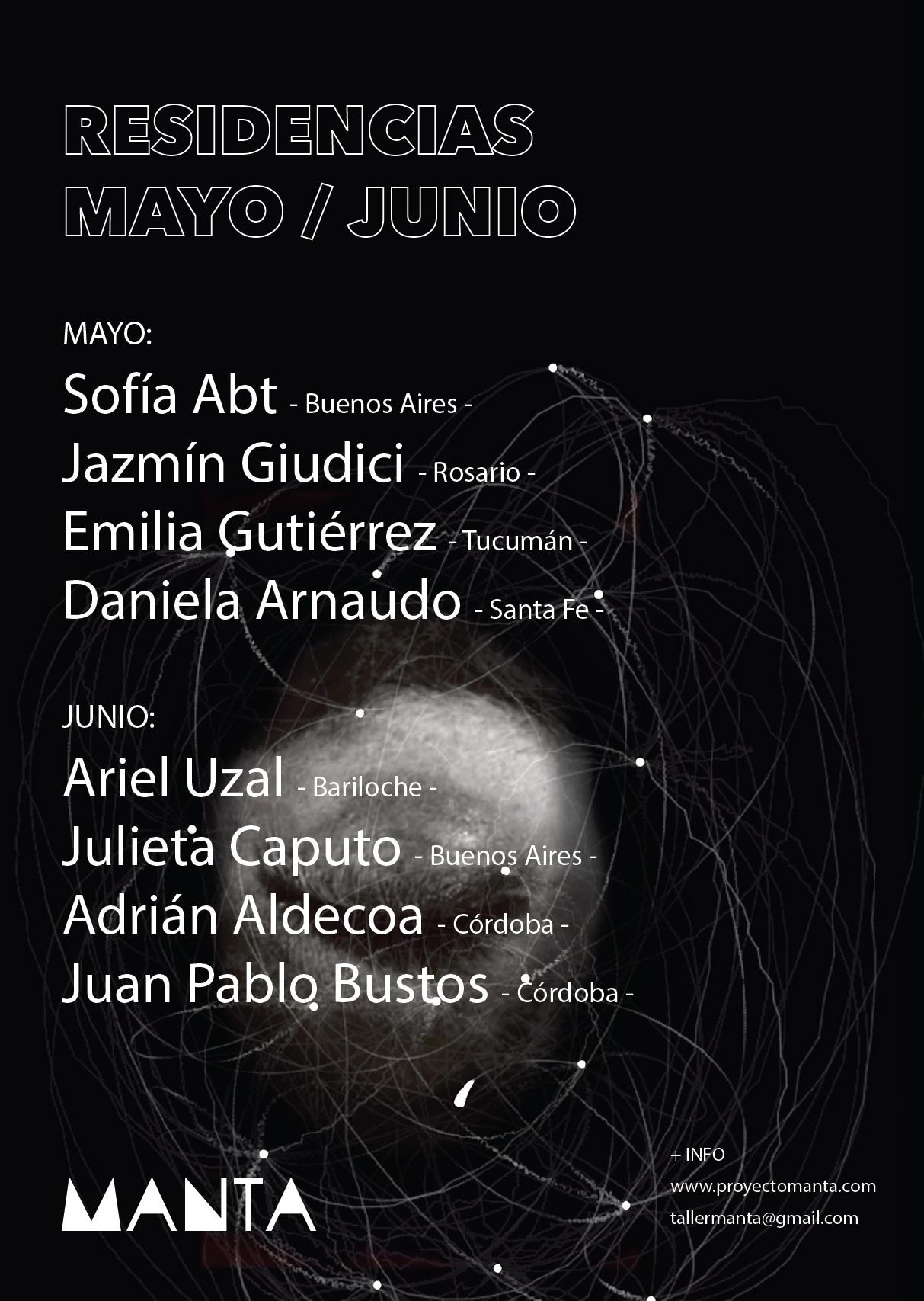 artistas residencias mayo/junio